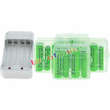 8x AA 3000mAh+8x AAA 1800mAh 1.2V NI-MH Rechargeable Battery+4xCase+Charger