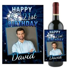 Personalised Happy Birthday Blue Glitz Stars Wine Champagne Bottle Label N98