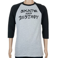 SP Thrasher Skate And Destoy Raglan T-Shirt Grey Black skate