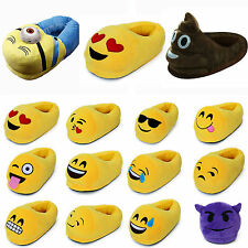Emoji Plush Stuffed Unisex Slippers Cartoon PADDED Warm Cute Indoor Fluffy Shoes