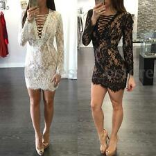 Women Lacing Bodycon Long Sleeve See-through Lace Clubwear Cocktail Mini Dress