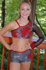 Silver and red custom competition dance costume AS lyrical open pageant