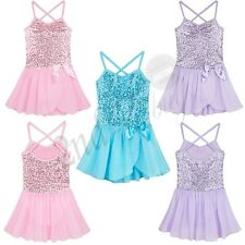 Girls Sequined Leotard Dress Toddler Ballet Dance Tutu Skirt Dancewear Costume