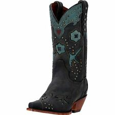 "Dan Post Western Boots Womens 11"" Metal Bird Snip Black Teal DP3513"