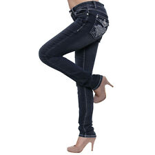 Season Story SS-AT116005 Women's Studded Embroidery Flap Pocket Skinny Jeans