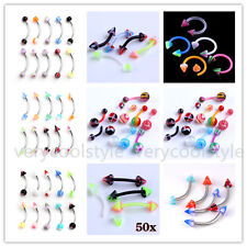 Mixed UV Taper Spike Ball Steel Navel Labret Nose Tongue Barbell Rings Piercing