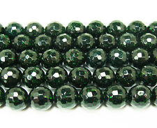 Green Goldstone Faceted Beads~Guaranteed
