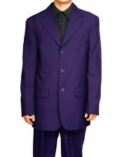 New Mens 3 Button Purple Dress Suit Size 52L 52 L Long Single Breasted Style