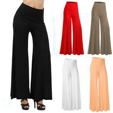 New Women Blended Plain Elastic Palazzo Wide Leg Flared Trousers Legging Pants