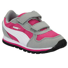 Infant Girls Puma St Runner Trainers In Grey Pink-Rip Tape Fastening