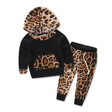2pc kids baby Girls leopard Hooded coat+pants Outfits set Cotton autumn clothing