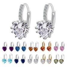Stud Earings Rhinestone Crystal Heart Shape Drop Dangle Earrings Lady Jewelry