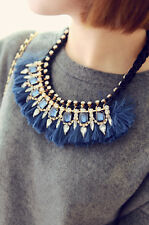 Gold Plated Rhinestone Rivets Red Blue Black Ribbon Silk Tassel Choker Necklace