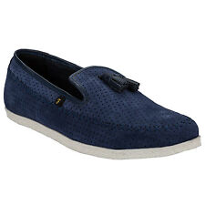 Mens Farah Daze Shoes In Blue-Perforated Hole Design-Stitching Detail Around