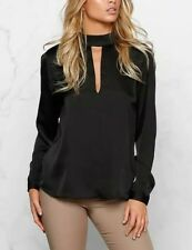 New Womens Ladies Sexy High V-Neck Collar Open Back Satin Blouse Tops Shirt