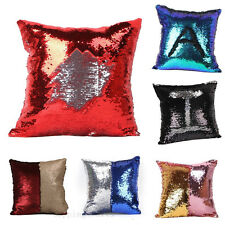Newest Reversible Sequin Mermaid Glitter Cushion Cover Pillow Case Double Color