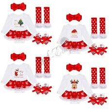 4PCS My 1st Christmas Santa Baby Girl Romper Fancy Tutu Dress Outfit Clothes