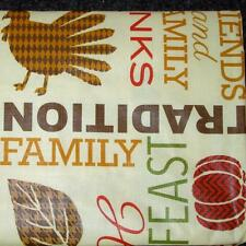 THANKSGIVING TURKEY VINYL TABLECLOTH~Flannel Back~ALL SIZES~FALL HARVEST~NEW