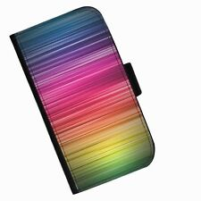 BG 132 RAINBOW STRIPE PRINTED LEATHER WALLET/FLIP  CASE COVER FOR MOBILE PHONE