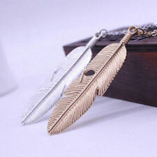 Feather Pendant Statement Vintage Necklace Sweater Jewelry Long Women Chain
