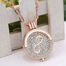 MY Coin Crystal Disc Infinity Charms Locket Pendant Necklace Long Chain Jewelry