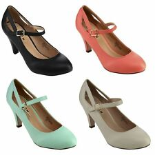 CHASE & CHLOE Women's Round Toe Mid Heel Mary Jane Pumps Run Half A Size Larger