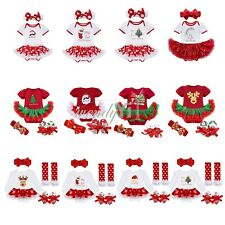 Newborn Baby Girls Xmas Romper Tutu Dress Headband Costume Outfits Clothes Set