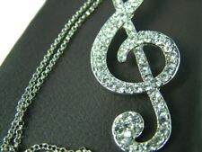 MUSIC NOTE  TREBLE G CLEF PENDANT NECKLACE  Choose  SILVER OR GOLD  Music Gift