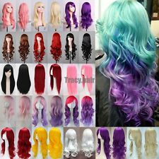 New Fashion Womens Multicolor Full Long Straight Wig Cosplay Party Wig Synthetic