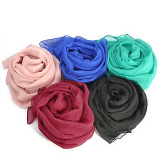 Women's Imitation Silk Solid Color Shawl Wrap Scarves Long Wraps Silk Scarf