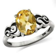 1.89ct. OV 9*7mm Natural Citrine 925 Sterling Silver Victorian Style Ring