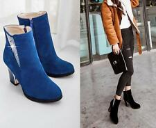 Fashion Faux Suede Rhinestone High Heels Side Zip Ankle Womens Boots Dress Shoes