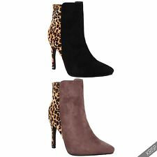 Womens Fur Lined Leopard Pony High Heel Ankle Boots Ladies Winter Heels Shoes