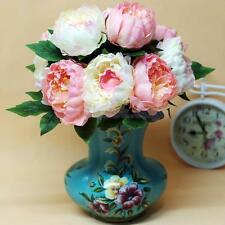 Artificial 5-Head Peony Silk Flowers Plant Bouquet Wedding Party Home Decoration