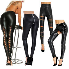 Women's Ladies Wet Look Leggings Lace Up Black Leather Skinny Fit Pants Trousers