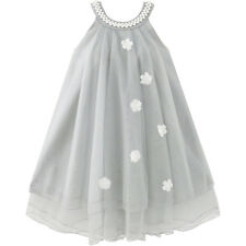 Flower Girls Dress Halter Dress Pearl Party Wedding Birthday Size 4-14 Pageant