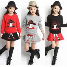2PCS Toddler Baby Girl Fashion Outfits T shirt tops + Skirt kids Clothes Set