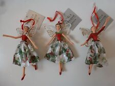 Gisela Graham Christmas Rose Resin/Fabric Fairy Decoration 12.5cm 3 asst