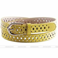 Hollow Faux Leather Belt Alloy Pin Buckle Waistband Jeans Waist Strap Yellow