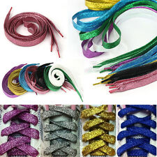 7 colors Shinny Pearlized Glitter Shoelace Canvas Sneaker Flat Shoe Laces Wide