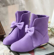 NEW Women's Faux Suede Bowknot Ankle Boots Low Heels Sweet Casual Ladies Shoes