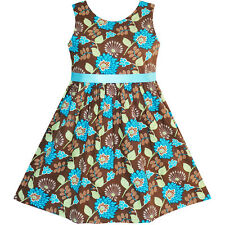 Sunny Fashion Girls Dress Flower Coffee Sundress Summer Beach Dress Size 2-10