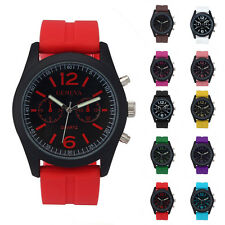 Unisex Women Geneva Silicone Analog Quartz Jelly Leather Strap Sport Wrist Watch