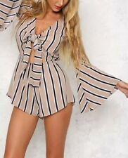 New Womens Ladies Sexy V-Neck Trumpet Sleeves Summer Shorts Jumpsuit Playsuit