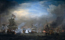 Classic Sea Battle Art Print:The Battle of Texel by Willem van de Velde, 1707