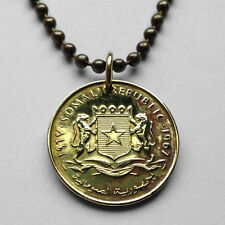 Somalia 5 cents coin pendant Somali LEOPARDS necklace crowned white star n001417