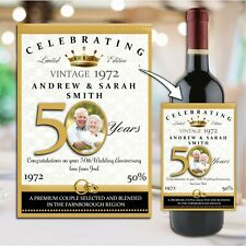 Personalised Golden 50th Wedding Anniversary Wine Champagne Bottle Label N102