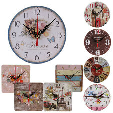 Vintage Style Non-Ticking Silent Antique Wood Wall Clock Home Kitchen Office LOT