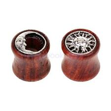 Wooden Alloy Sun Moon Flared Ear Plug Tunnel Expanders Stretcher Jewelry