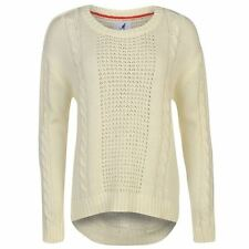 Kangol Womens Cable Knit Jumper Pattern Pullover Long Sleeve Crew Neck Top